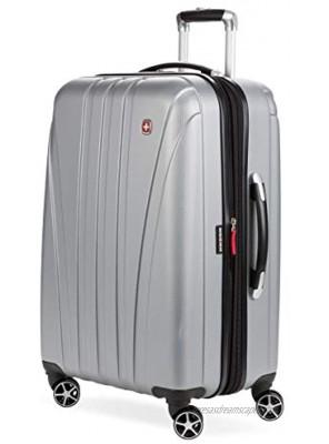 SwissGear 7585 Hardside Spinner Luggage Silver Checked-Medium 23-Inch