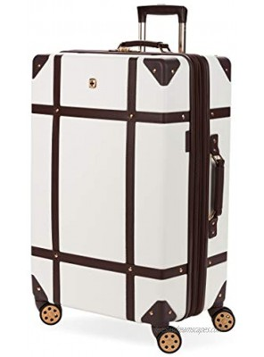 SwissGear 7739 Trunk Hardside Spinner Luggage White Checked-Large 26 Inch