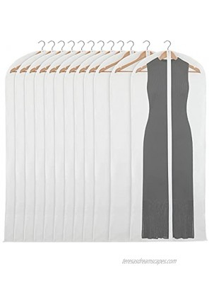 Clear Garment Bag Covers Zippered Closet Bags for Clothes 24x60 In 12 Pack