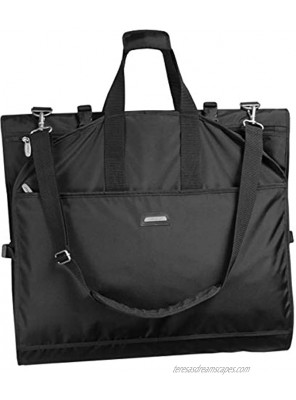 WallyBags Premium Tri-Fold Carry On Wedding Dress Travel Garment Bag for Long Gowns Black w Lining 66-inch