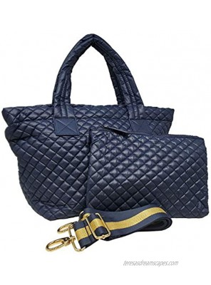 ClaraNY Comfortable Light weight Medium size Quilted Tote bag with Pouch and Shoulder Strap water repellent Navy