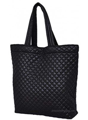 ClaraNY Comfortable light weight quilted market Tote water repellent Black