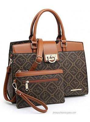 Dasein Women Satchel Purses Handbags Monogrammed Shoulder Bags for Lady Work Tote Bags with Matching Clutch