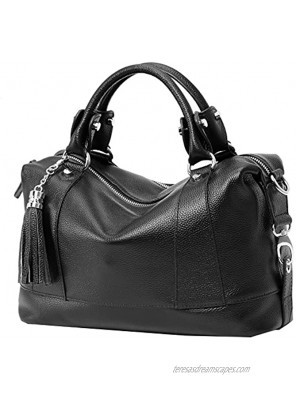 Heshe Genuine Leather Shoulder Bag Womens Tote Top Handle Handbags Cross Body Bags for Office Lady