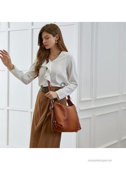 Heshe Vintage Womens Genuine Leather Handbags Tote Bag Top Handle Bag Satchel Designer Purses Cross-body Bag