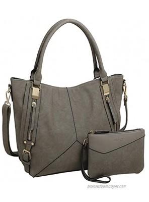 KEYLI Women Handbags Faux Leather Hobo Shoulder Bag Fashion Tote Satchel Bags 2pcs Purse Set