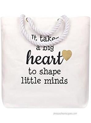 Markha Teacher gifts for women Teacher Gifts Teacher Appreciation Gift Teacher Bag It takes a big heart to shape little minds Canvas Teacher Tote