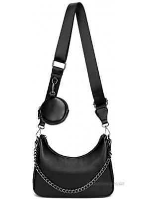 Small Crossbody Hobo Handbags for Women Multipurpose Soft Shoulder Bag Lightweight Retro Tote Bag with Coin Purse 2pcs set