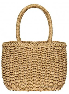 Straw Bags for Women Hand-woven Straw Small Hobo Bag Round Handle Ring Tote Retro Summer Beach Rattan bag