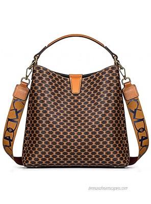 TIBES Satchel Handbag for Women Vintage Leather Shoulder Bag Top Handle Purses Retro Tote