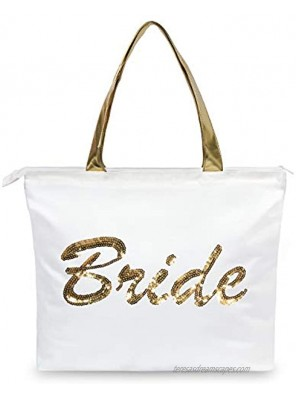 TOPDesign Wedding Gold Sequin Canvas Tote Bag Bridal Shower Gifts for Bride Bag with an Internal Pocket Top Zipper Closure