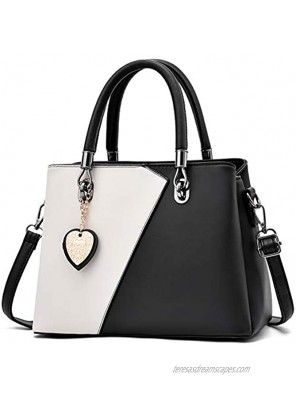 Womens Leather Handbags Purse Top-handle Bags Contrast Color Stitching Totes Satchel Shoulder Bag for Ladies