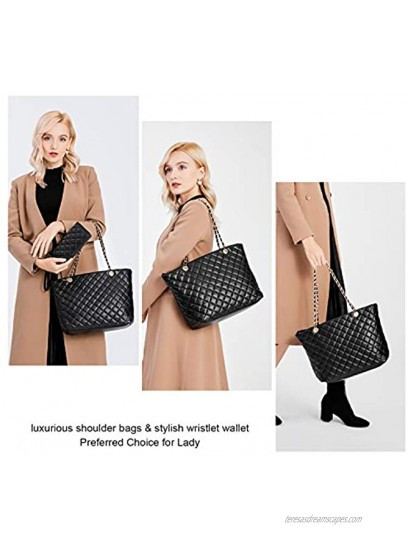 XB Tote Purse and Handbags Set for Women Leather Quilted Shoulder Bag Wristlet Wallet Zipper