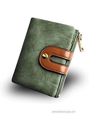 AOXONEL Women's Rfid Small Bifold Leather Wallet Ladies Mini Zipper Coin Purse id card Pocket,Slim Compact Thin