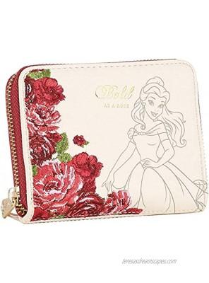 Loungefly Disney Belle Flowers Faux Leather Mini Zip Wallet