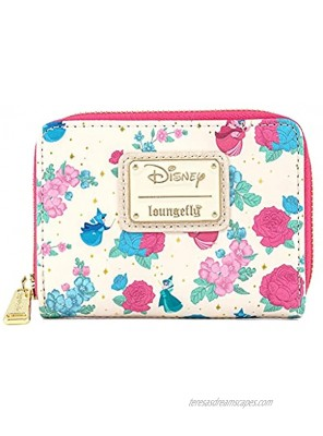 Loungefly Disney Sleeping Beauty Floral Fairy Godmother All Over Print Zip Around Wallet