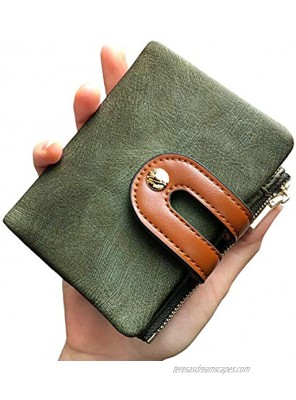 PofeeXIO Womens Wallets Small Rfid Ladies Bifold Wallet With Zipper Coin Pocket,Mini Purse Soft Compact Thin green