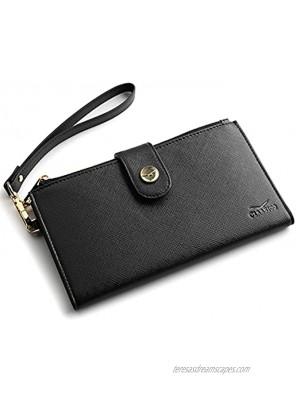 Women's RFID Wristlet Wallet & Phone Holder | Multi Credit Card Bifold Organizer w Zipper Pockets & Sweetly Packed in Gift Box